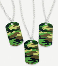 12 Camouflage Metal Dog Tag Necklaces Military Hunting Army BIRTHDAY party favor