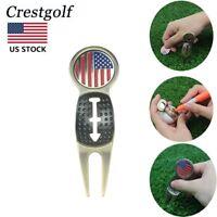 Golf Divot Repair Tool Pitch Fork Golf Ball Liner USA Flag Ball Marker