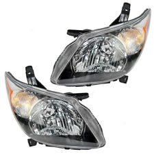 Pair Set Headlights Headlamps Lens Housing Assembly for 2003-2004 Pontiac Vibe