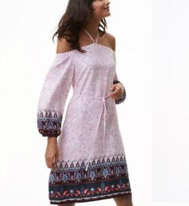 NEW LOFT Paisley Vines Off The Shoulder Halter Dress Purple Blouson Sleeves Sz M
