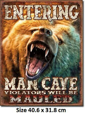 Man Cave Grizzly  Tin Sign 1817  Large Variety - Post Discounts - Made in USA