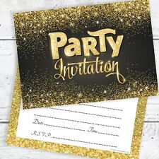 Black and Gold Glitter Effect Party Invitations with Envelopes (Pack 10)