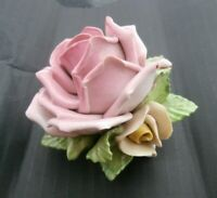 "Vintage Martha Budich Dresden German Pink yellow Rose 3"" table centre piece Wow!"