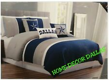 6pc Comforter Oversized Dallas Cowboys Queen Gray White Navy