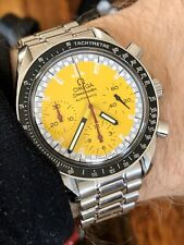 Omega Speedmaster Yellow Dial Face Mens Schumacher reduced Automatic watch + Box