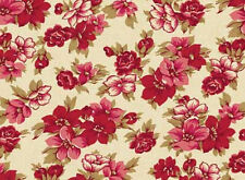 """/""""Isabella/"""" Print rose green cream on brown Fabric by Anna Fishkin Red Rooster"""