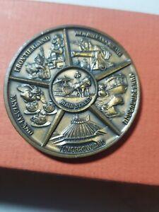 Vintage Disneyland bronze medal Medallion Frontierland,New Orleans Square