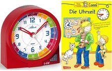 Kinderwecker ohne Ticken + Lernbuch Connie Uhrzeit lernen Rot Mädchen -1937-1 BU