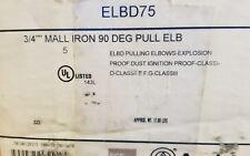 "ELBD75 APPLETON 3/4"" EXPLOSION PROOF LB CONDULET. BOX OF 5."
