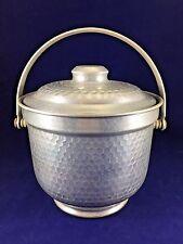 Italian Made Mid Century Vintage Hammered Aluminum Ice Bucket with Lid