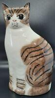 NS Gustin Cat Figurine Ceramic Doorstop Vintage 8.5 Tabby Brown and White Stripe