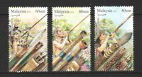 MALAYSIA 2018 SUMPIT BLOWPIPE COMP. SET OF 3 STAMPS IN MINT MNH UNUSED CONDITION