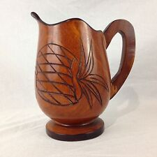 Hand Turned Fruit Craved Detailed Decorative Wooden Pitcher Tiki