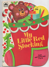 MY LITTLE RED STOCKING  COLORING AND COUNTING BOOK  CHRISTMAS  1982  GOLDEN