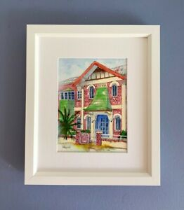 "Original Framed Watercolour ""Lilac House""."