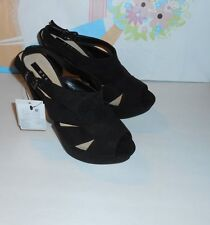 MNG By Mango Suede Platform Open Toe Slingback High Heels Black 6 1/2M NIB
