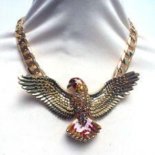 Butler and Wilson Enamel and Crystal Gold Tone Falcon Necklace NEW