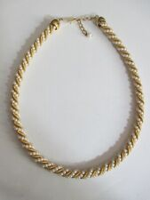 """Vintage Faux Mini Pearls and Gold Tone Serpentine Chain Twist Necklace 17-19"""""""