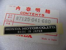 Honda CB 750 four k0 k1 k2-k6 Autocollant Cadre plate, nom 87125-041-680