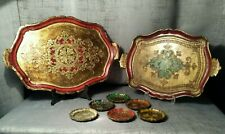 LOT 2 trays & 6 coasters Italian Florentine Tole Wood Gold Handpainted Regency
