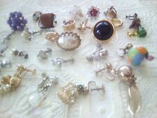 Screw back vintage earrings. singles. Miriam Haskell, Napier, sterling + more
