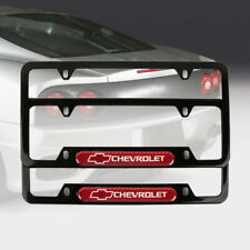 2Pcs Chevrolet Black Stainless Steel License Plate Frame Carbon Fiber Emblem