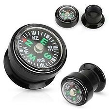 "Plug - Sold as a pair 5/8"" Real Compass Inlayed Black Acrylic Screw Fit"