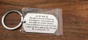 Dog Tag  MY MAN  Metal Keyring Key chain   BRAND NEW