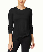 Ideology Women's Knotted Long-Sleeve Top (Black, L)