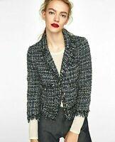 ZARA Boucle Tweed Blazer Fantasy Jacket Coat Frayed Bloggers Fav L UK 12 14