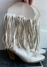 Vintage White Tasselled CowBoy Boots - SUPER COOL & Funky - 39 - Made In Italy