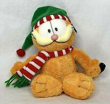 Garfield Plush with Santa Hat and Scarf TY Season's Greetings! Orange White Soft