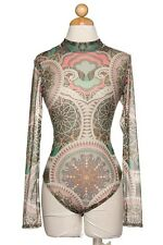 Womens Large colored tatt one piece body suit