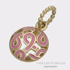 Authentic Pandora14kt Gold Enamel Pink Breast Cancer Pendant 350176EN24