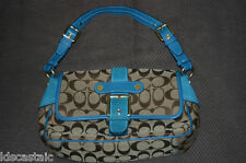 Lightly Used COACH Soho Signature Suede/Leather Flap Purse With Buckle 1482