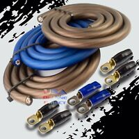 BIG 3 Upgrade 1/0 GAUGE Alternator Electrical BLUE BLACK Cable Wiring Combo Kit