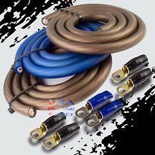 BIG 3 Upgrade 1/0 GAUGE Alternator Electrical BLUE BLACK Cable Wiring Combo Kit
