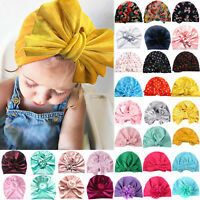 Toddler Kids Infant Baby Girls Bowknot Headwrap Turban Caps Headband Beanie Hats