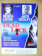1991 Theatre Royal BATH Flyer: Dead Lock- Autograph: DONNA LYTHGOEDAVID PULLAN