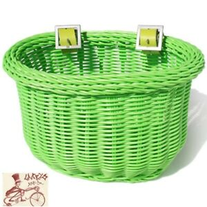 COLORBASKET OVAL CHILD GREEN FRONT BICYCLE BASKET--10 x 7 x 6.75''