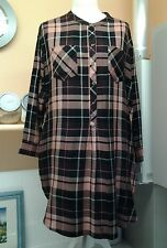PLUSE SIZE 18 LADIES DRESS CHECK TUNIC MARKS& SPENCERS POCKETS CASUEL B.N.W.T.