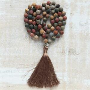 Fashion Mixes Gemstone 108 Beads Handmade Tassel Necklace Chakra Yoga Spiritua