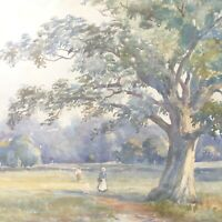 Landscape painting antique watercolour English School figures on pathway