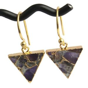 Triangle Colorful Compressed Gemstone Copper Turquoise Gold Plated Drop Earrings