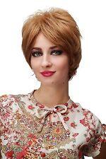 PERRUQUE pour femme carré court blond Châtaigne Mélange 60ies style sa013-12/26