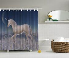 Majestic Unicorn Graphic Shower Curtain Horse Western Night Moon Bath Curtain