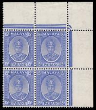Malaya Pahang 1941 15 C outremer bloc de quatre superbe neuf sans charnière. SG 39.