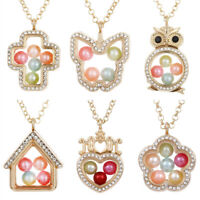 Gold Tone Living Memory Floating Locket Pendant Pearl Cage Glass Locket Necklace