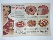 Original Print Ad BETTY CROCKER Strawberry Shortcake Recipe 2 Page