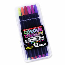 Colour Therapy 12 Super Fine Line Pens Crayons Connoisseur Clear Carry Case